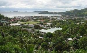 Perspective view of Catbalogan with Maqueda Bay at the background